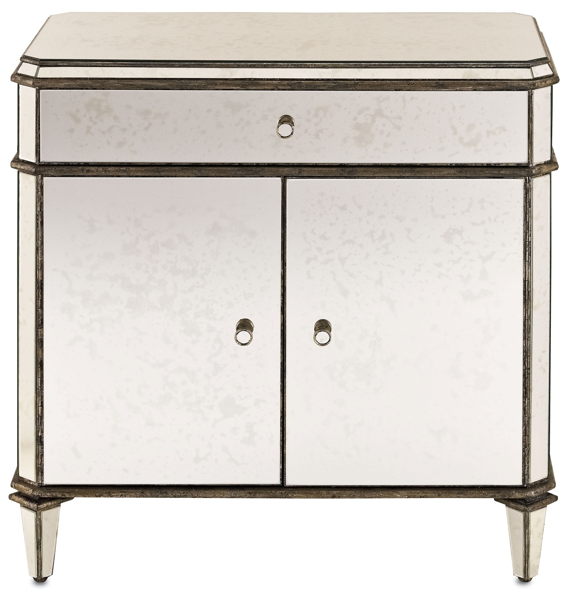 Antiqued Mirror Sideboard | Currey And Company Pertaining To Newest Aged Mirrored 4 Door Sideboards (#2 of 20)