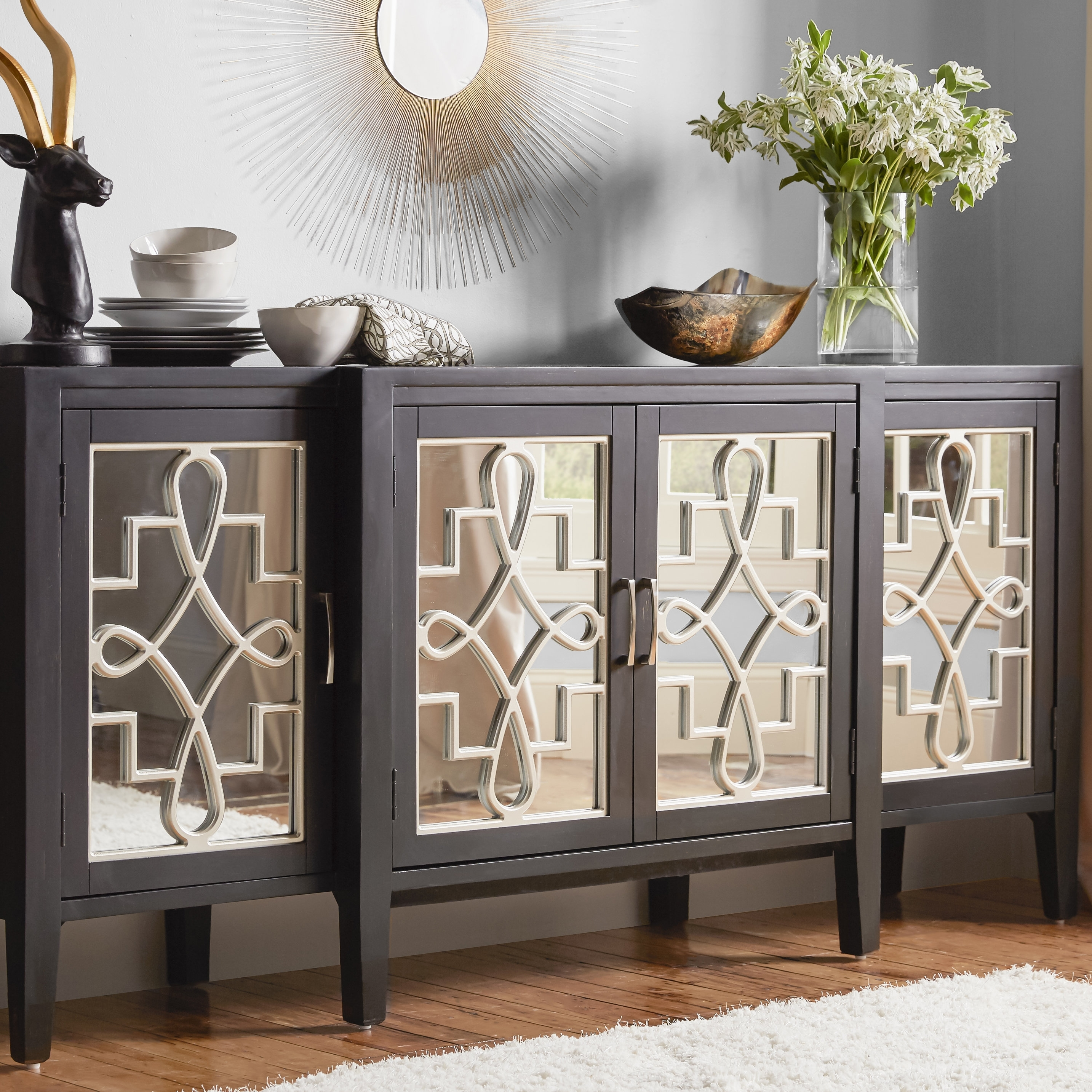 Astoria Grand Beesley Sideboard & Reviews | Wayfair Throughout Latest 2 Door Mirror Front Sideboards (View 8 of 20)