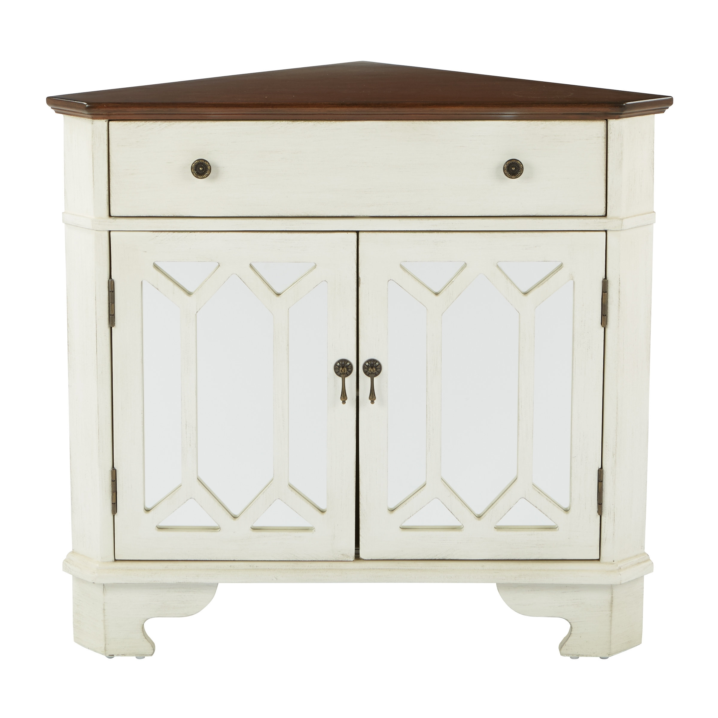 August Grove Hardyston Corner Storage 1 Drawer 2 Door Accent Cabinet Intended For Most Recently Released Burn Tan Finish 2 Door Sideboards (#2 of 20)