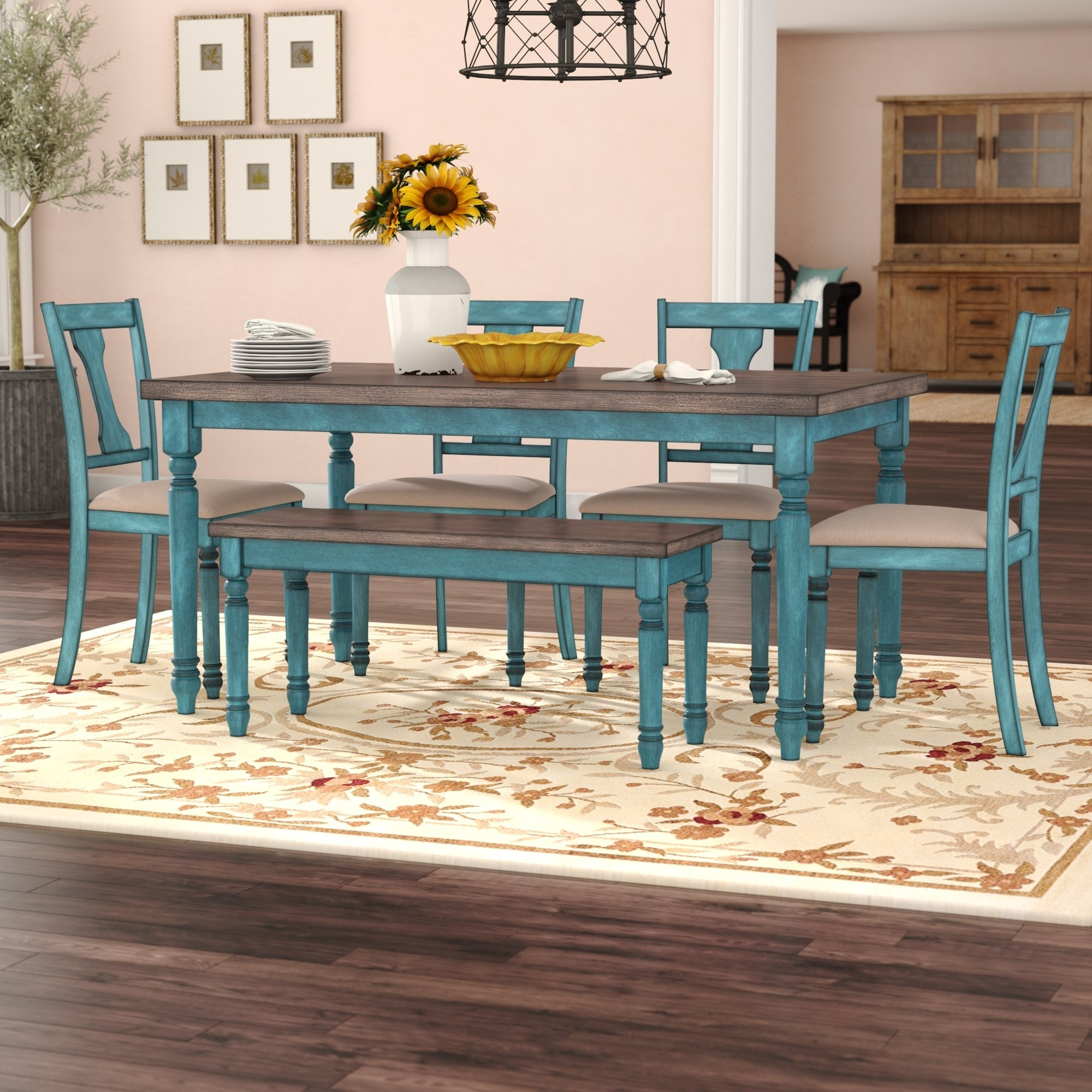August Grove Scarlet 6 Piece Dining Set & Reviews | Wayfair With Regard To Current Marbled Axton Sideboards (View 19 of 20)