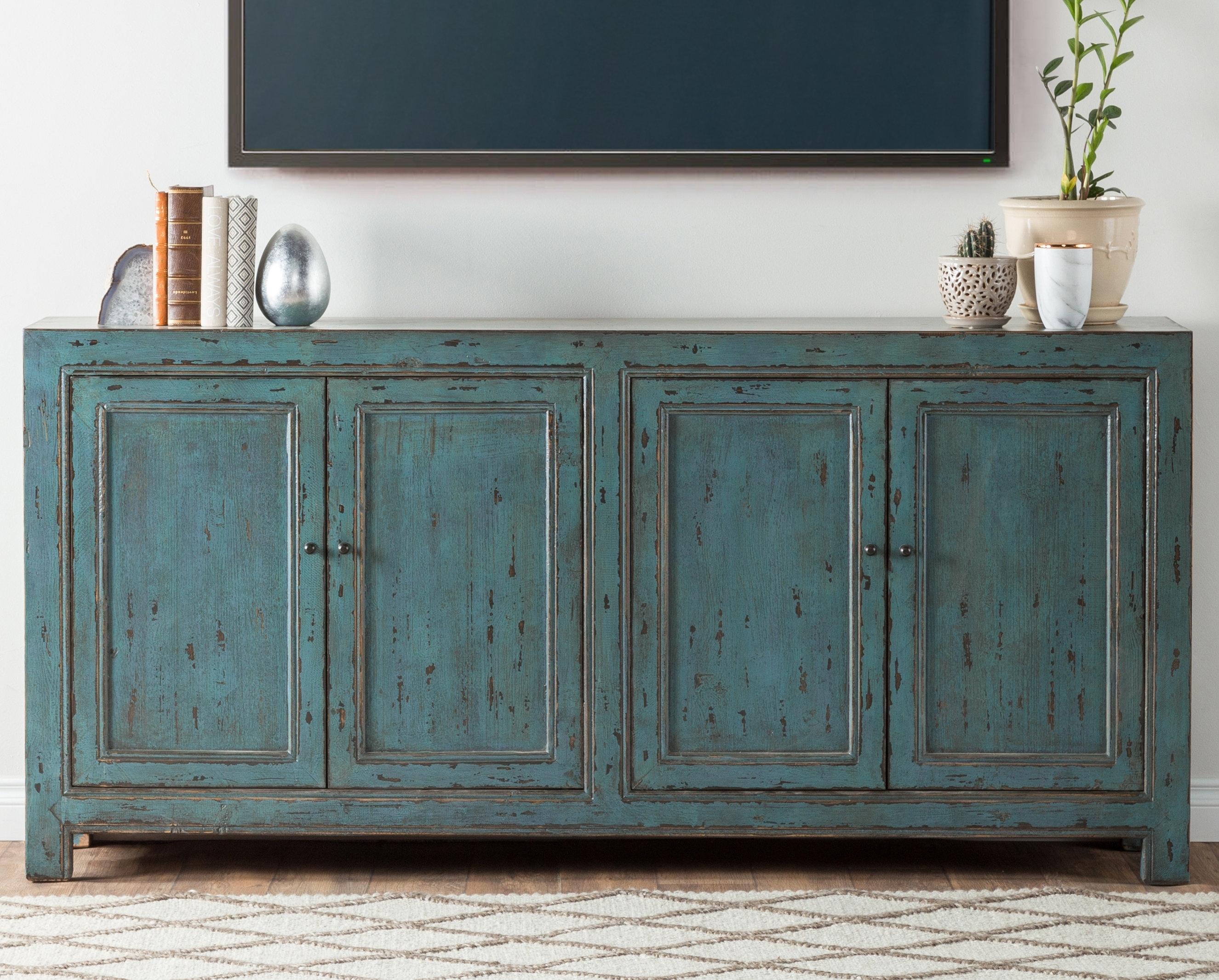 August Grove Tapscott Reclaimed Pine 4 Door Sideboard & Reviews Within Recent Reclaimed Pine Turquoise 4 Door Sideboards (View 2 of 20)
