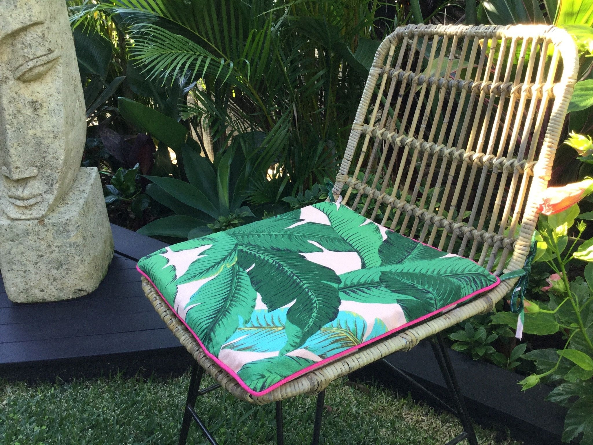 Banana Leaf Chairs With Cushion For Well Known Chair Pads, Palm Leaf Cushions, Banana Leaf Outdoor Cushions (#4 of 20)