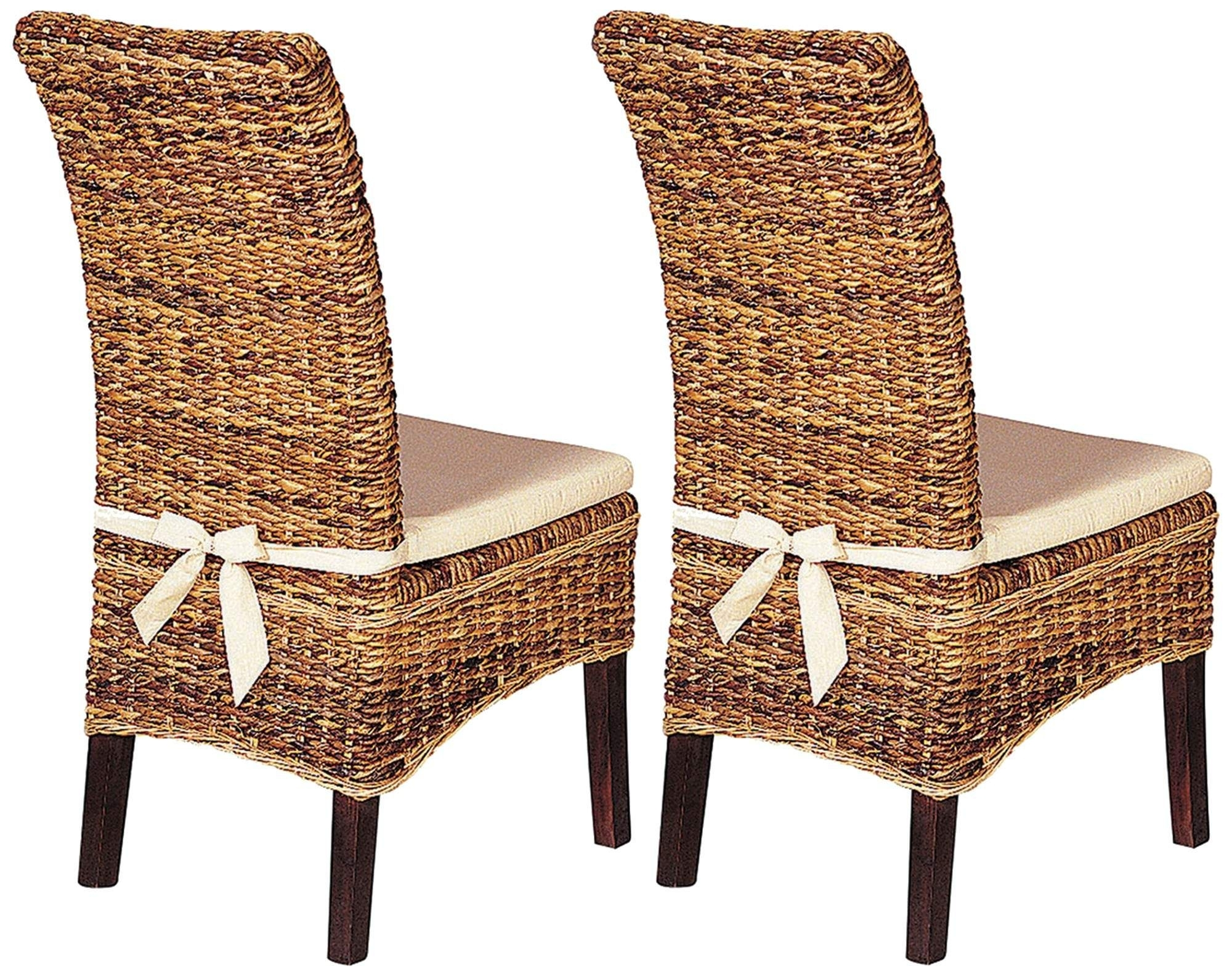 Banana Leaf Chairs With Cushion Inside Popular Set Of 2 Grass Roots Banana Leaf Dining Chairs With Cushions (#5 of 20)