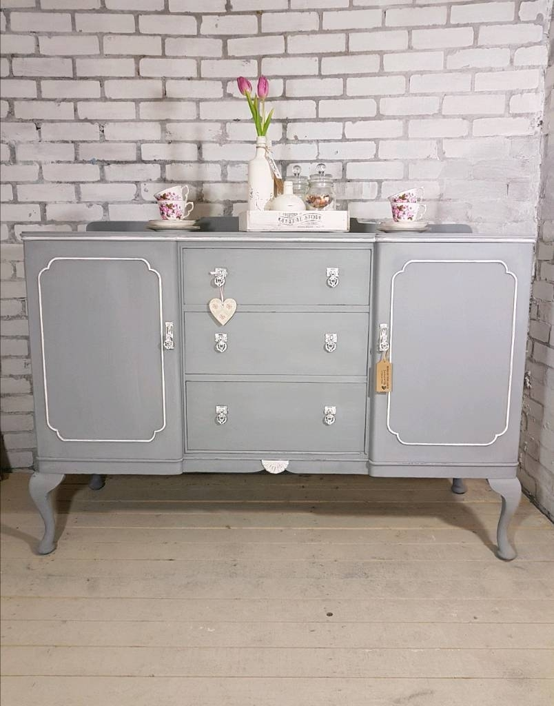 Beautiful Big Buffet Sideboard, Vintage 2 Door, 3 Drawer Dresser Inside Most Up To Date Antique White Distressed 3 Drawer/2 Door Sideboards (#3 of 20)