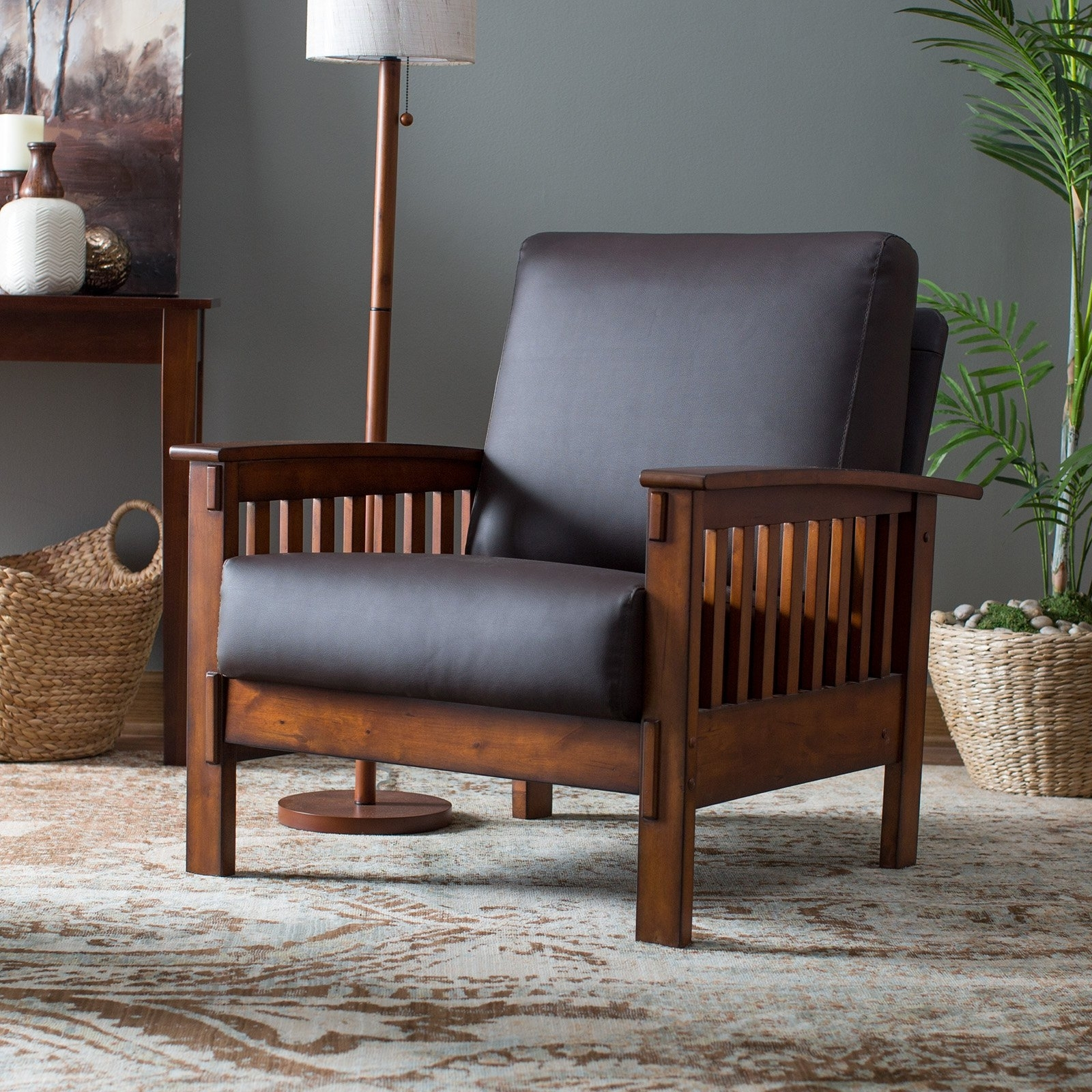 Belham Living Burton Mission Arm Chair – Walmart Throughout Trendy Craftsman Upholstered Side Chairs (View 13 of 20)