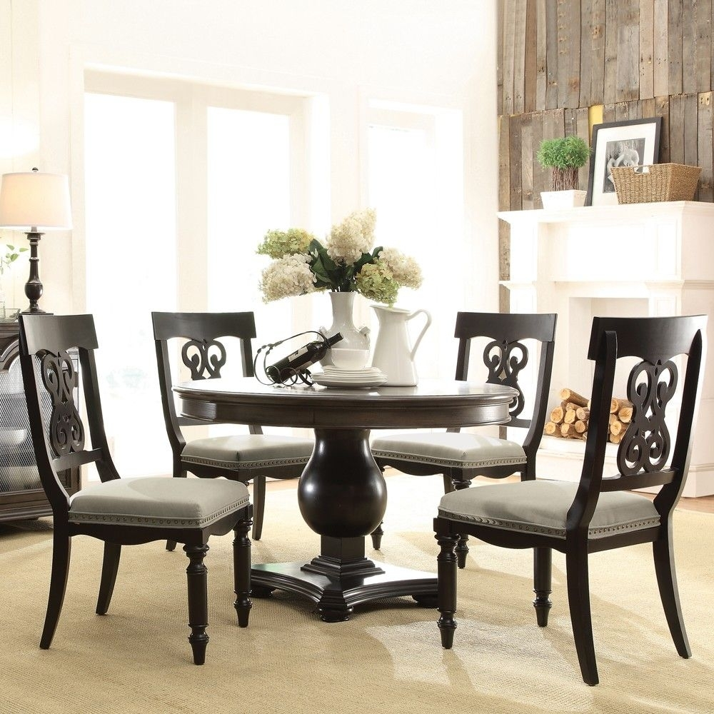 Belmeade Side Chairs Pertaining To Most Popular Belmeade Wood Round Dining Table And Chairs In Old World Oak (#6 of 20)