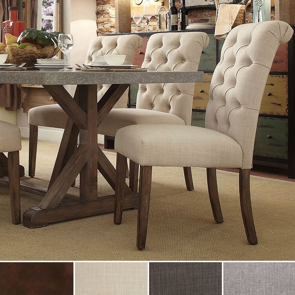 Benchwright Button Tufts Upholstered Rolled Back Parsons Chairs Pertaining To 2019 Norwood Upholstered Hostess Chairs (View 12 of 20)