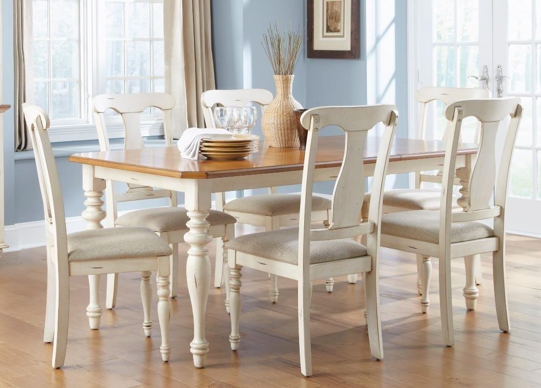 Best And Newest Casual Dining Table In Bisque With Natural Pine Finish Solid Hardwoods For Pine Wood White Dining Chairs (#2 of 20)