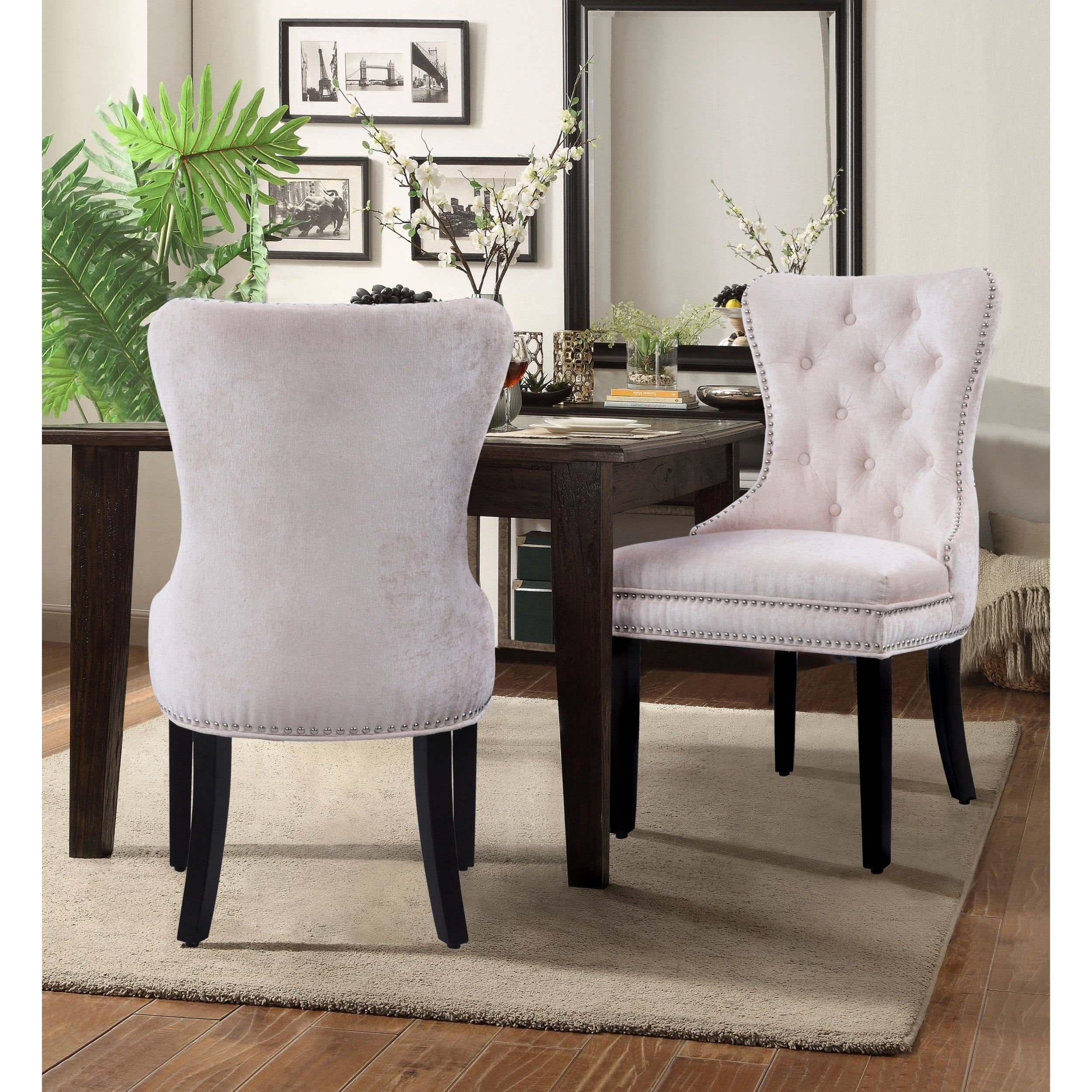 Best And Newest Walden Upholstered Arm Chairs In Chic Home Elizabeth Velvet Upholstery Dining Accent Chairs (Set Of  (#1 of 20)