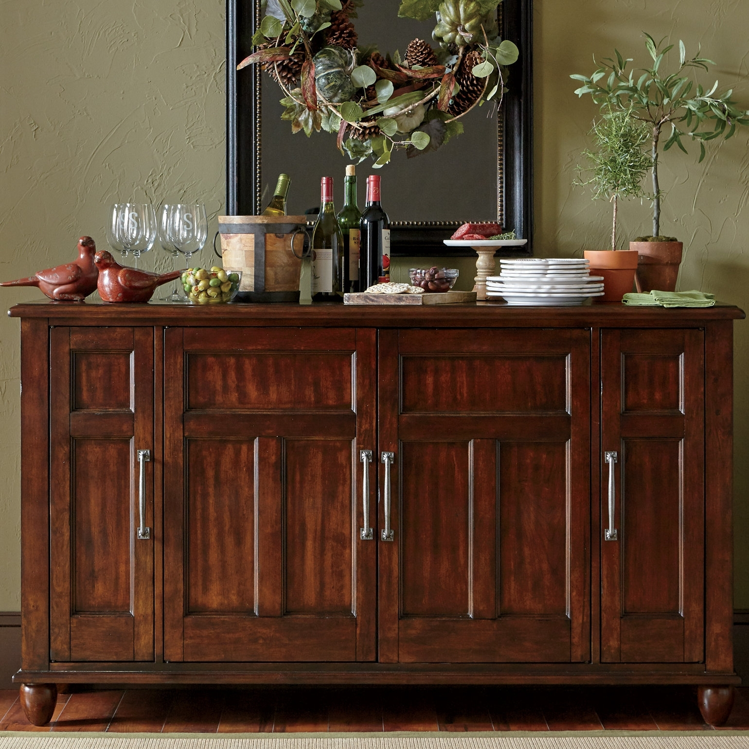 Birch Lane™ Lisbon Sideboard & Reviews | Birch Lane Throughout Best And Newest Vintage Finish 4 Door Sideboards (View 12 of 20)