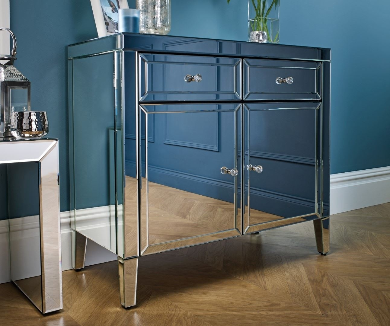 Birlea Valencia Mirrored 2 Drawer 2 Door Sideboard Bevelled Glass Throughout Current Aged Mirrored 2 Door Sideboards (#7 of 20)