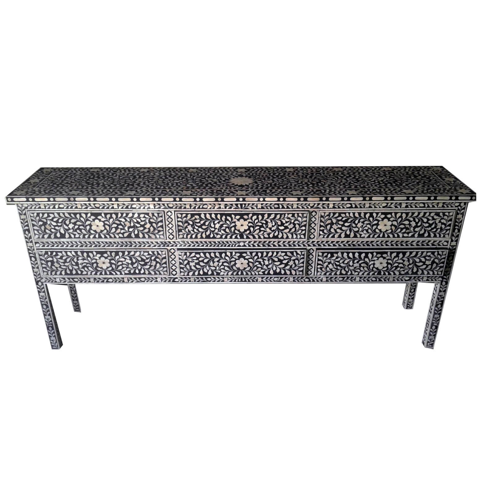 Black Bone Inlay Large Sideboard | Iris Furnishing Regarding Most Up To Date Geo Pattern Black And White Bone Inlay Sideboards (View 8 of 20)