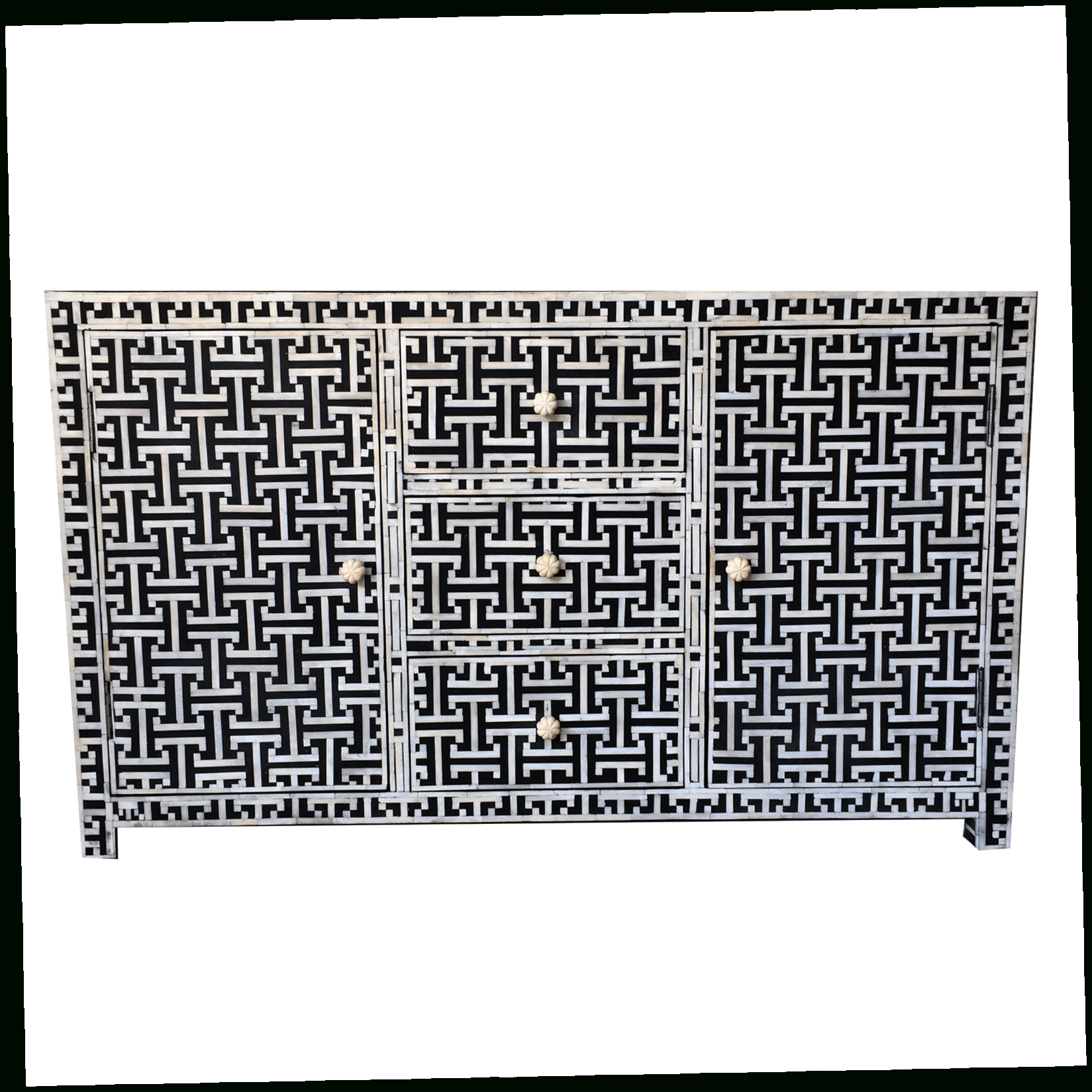 Black Bone Tetris Sideboard | Iris Furnishing Within 2017 Geo Pattern Black And White Bone Inlay Sideboards (View 15 of 20)