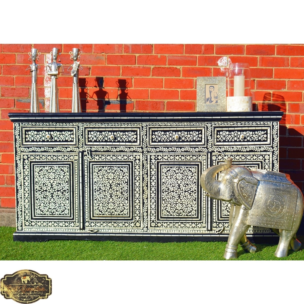 Black Hand Painted Sideboard Cabinet Buffet Indian Moroccan Antique In Most Up To Date Geo Pattern Black And White Bone Inlay Sideboards (View 19 of 20)