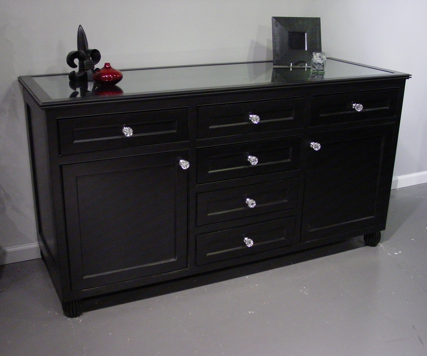 Black Painted Dresser With Glass Top With Regard To 2018 Satin Black & Painted White Sideboards (View 17 of 20)