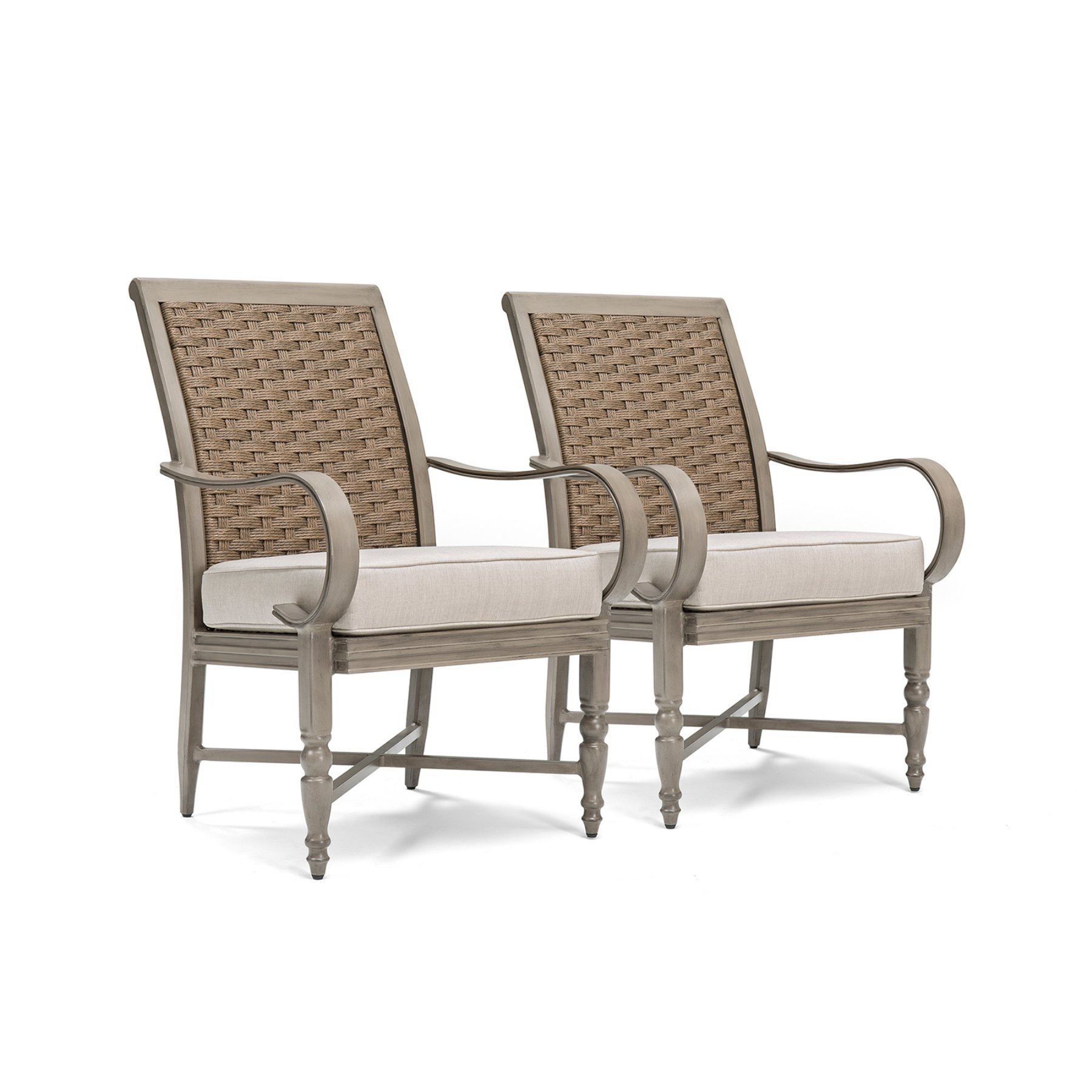 Blue Oak Saylor Wicker Outdoor Dining Arm Chair With Outdura Remy With Regard To Most Up To Date Garten Onyx Chairs With Greywash Finish Set Of  (#2 of 20)