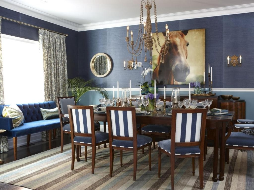 Blue Stripe Dining Chairs For Trendy Striped Chair Ideas With Blue Wall Color Ideas For Relaxing Dining (#4 of 20)