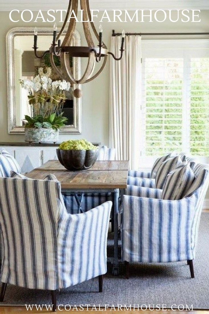 Blue Stripe Dining Chairs Within Most Current Coastal Farmhouse (View 7 of 20)