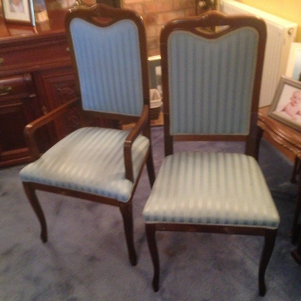 Blue Stripe Dining Chairs Within Widely Used Set Of 6 Mahogany Dining Chairs With Blue 2 Tone Regency Stripe (#8 of 20)