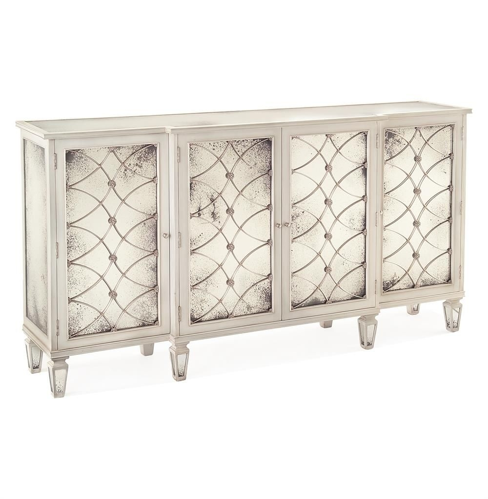 Bonet Hollywood Regency Grillwork Antique White Mirrored Sideboard Regarding Most Current Aged Mirrored 4 Door Sideboards (#5 of 20)