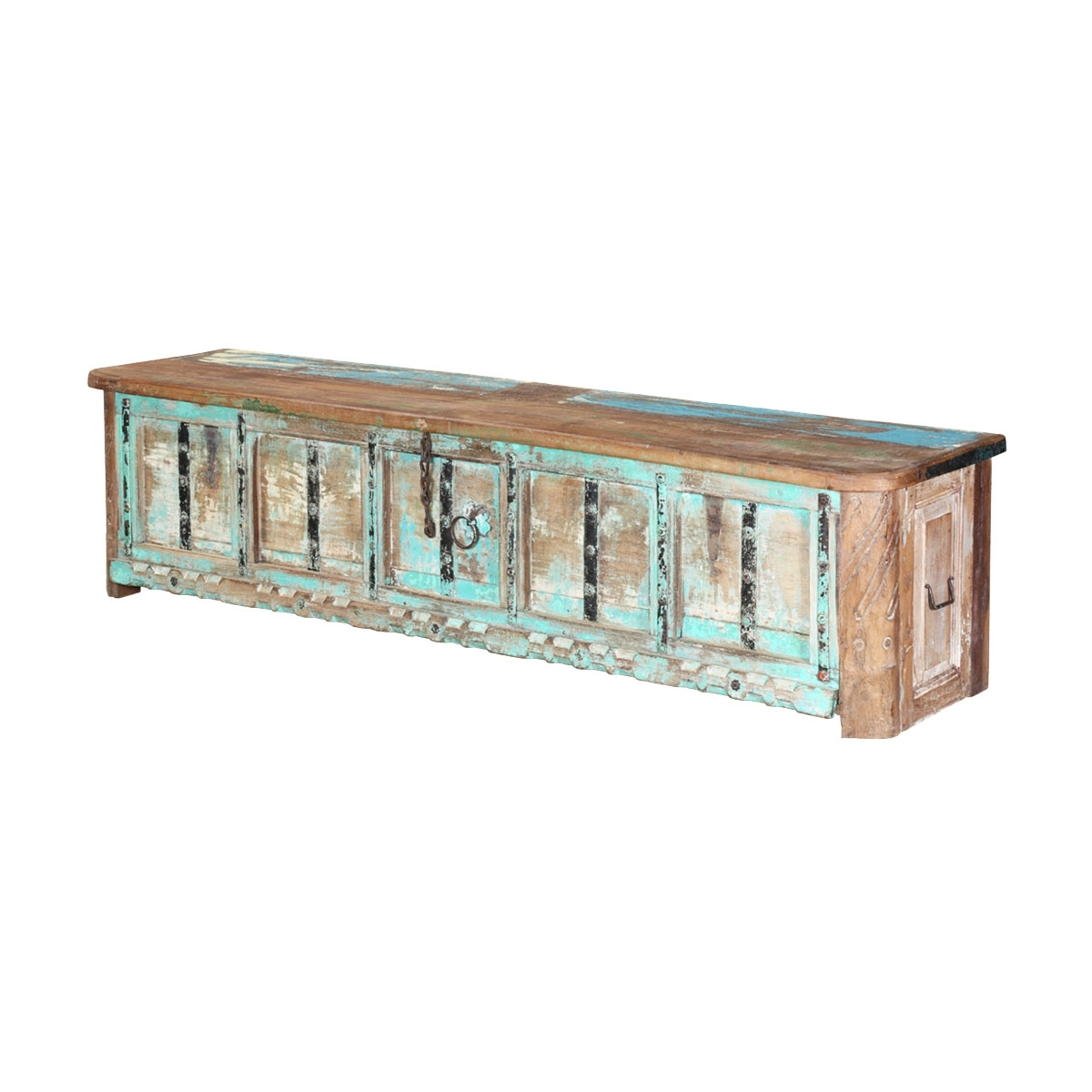 Boyce Rustic Turquoise Reclaimed Wood Large Storage Coffee Table Chest Within 2018 Boyce Sideboards (#3 of 20)
