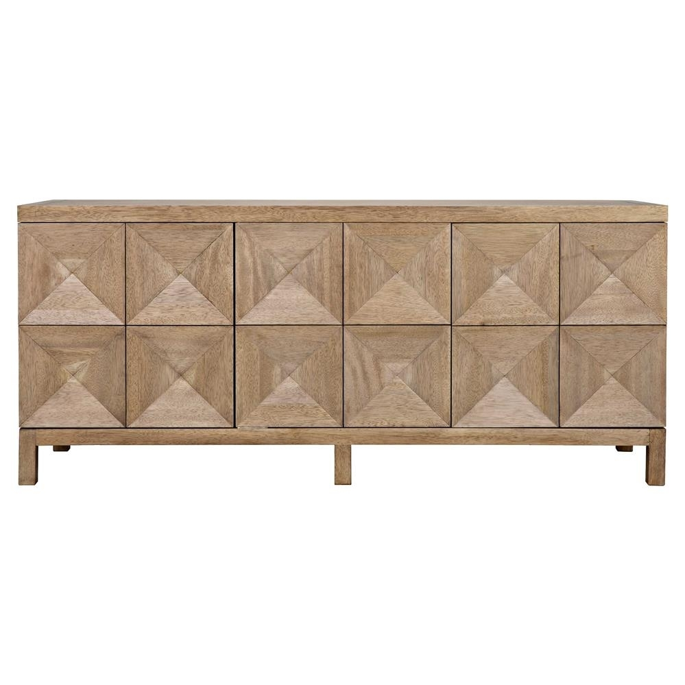 Brenton Modern Classic Washed Walnut Diamond 3 Door Sideboard Pertaining To Most Current Jaxon Sideboards (View 11 of 20)