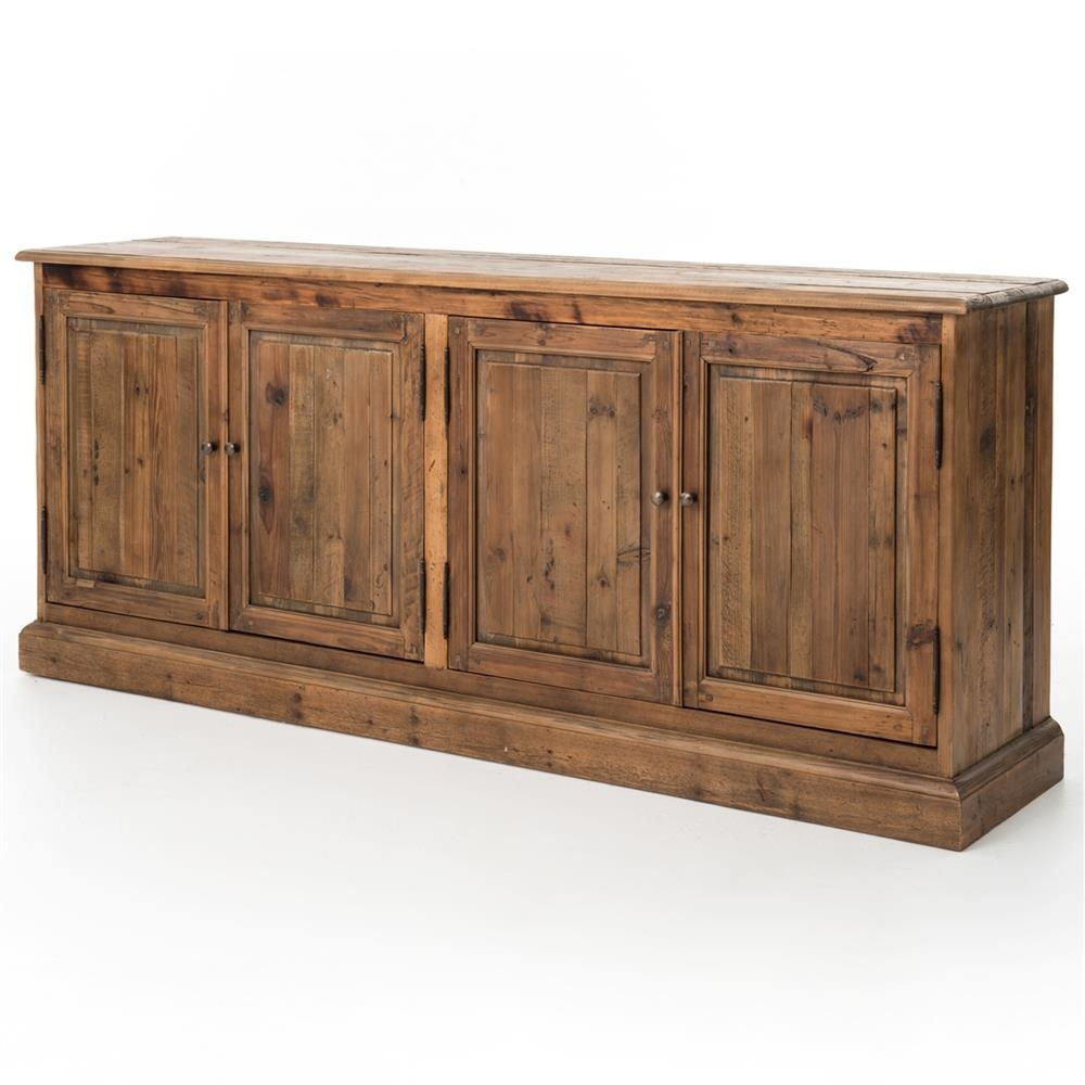 Briella Rustic Lodge Reclaimed Pine Four Door Sideboard | Kathy Kuo Home In Most Recently Released Reclaimed Pine 4 Door Sideboards (#4 of 20)