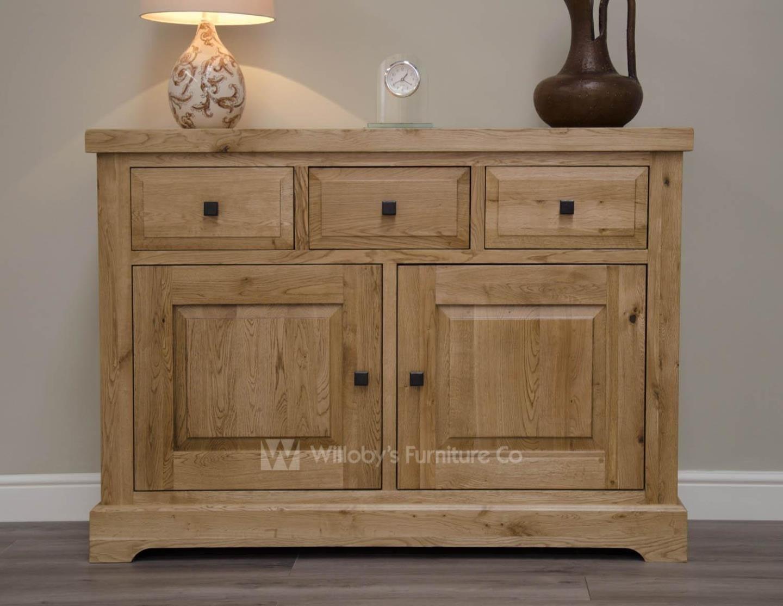 Buffalo Oak Medium 3 Drawer 2 Door Sideboard For Best And Newest Aged Pine 3 Drawer 2 Door Sideboards (#2 of 20)