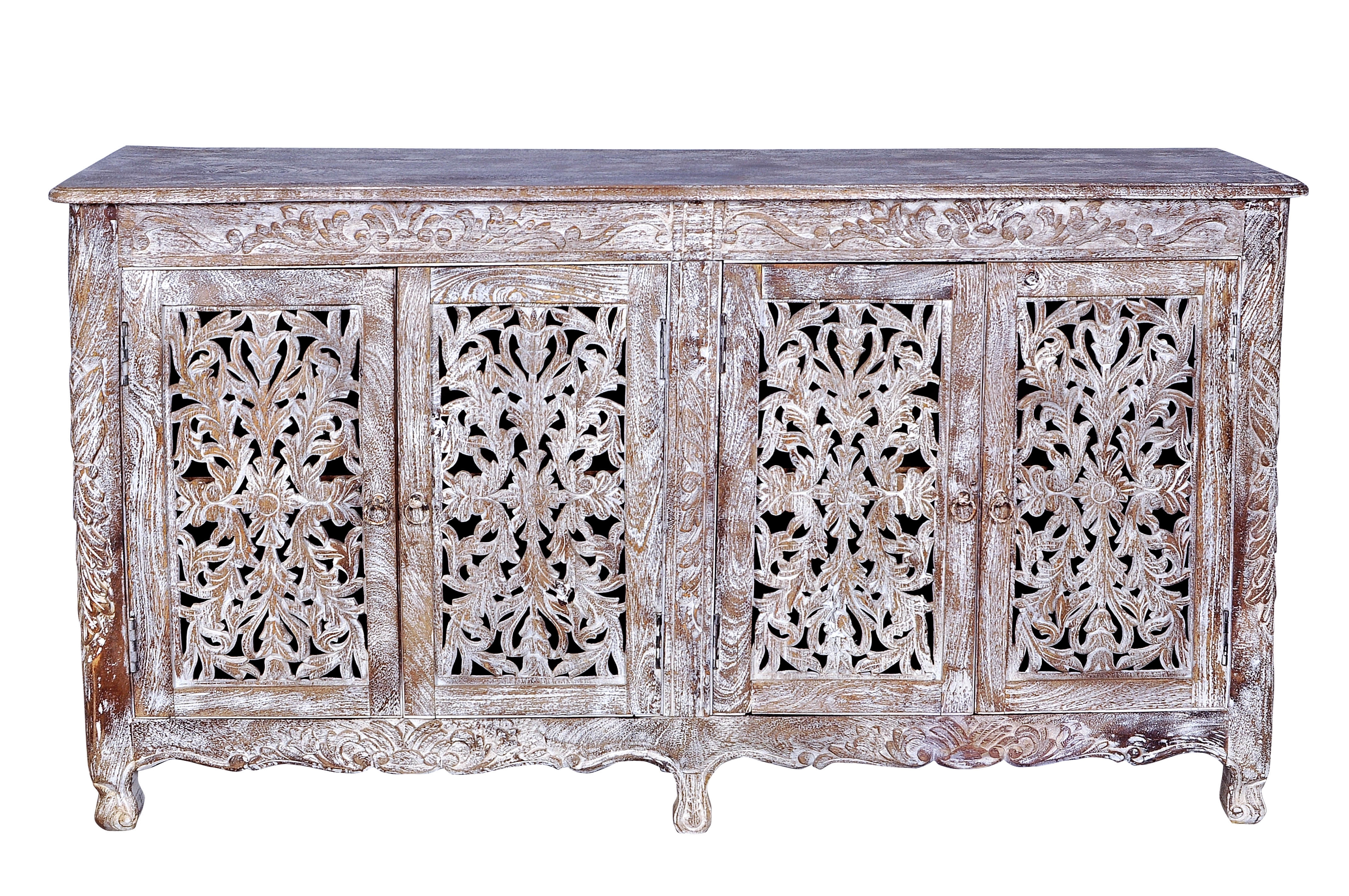 Bungalow Rose Aveliss Carved 4 Door Antique Whitewash Sideboard For Newest 2 Door White Wash Sideboards (View 8 of 20)