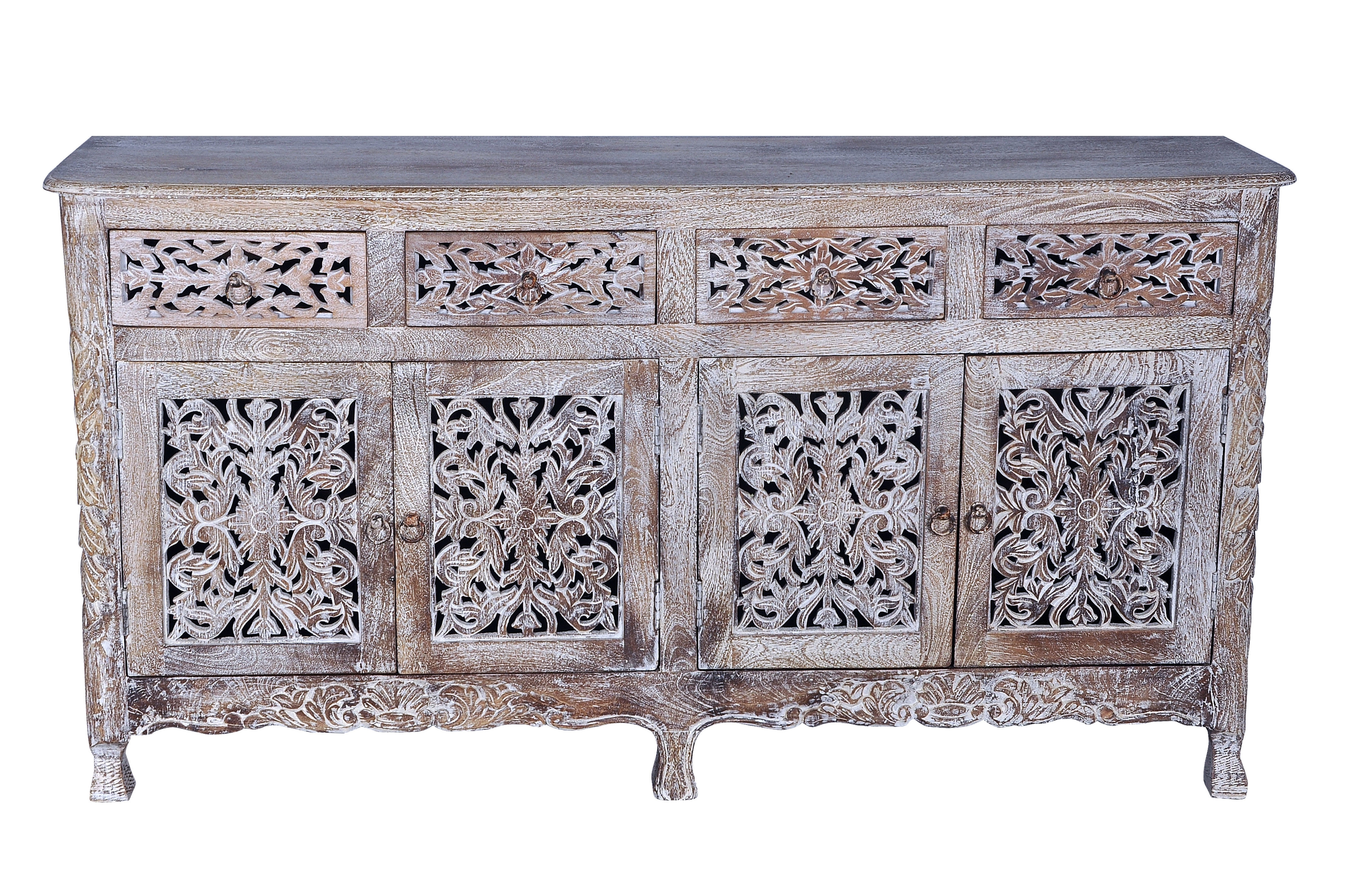 Bungalow Rose Aveliss Carved 4 Door Hand Carved Sideboard   Wayfair Throughout Current Square Brass 4 Door Sideboards (#6 of 20)