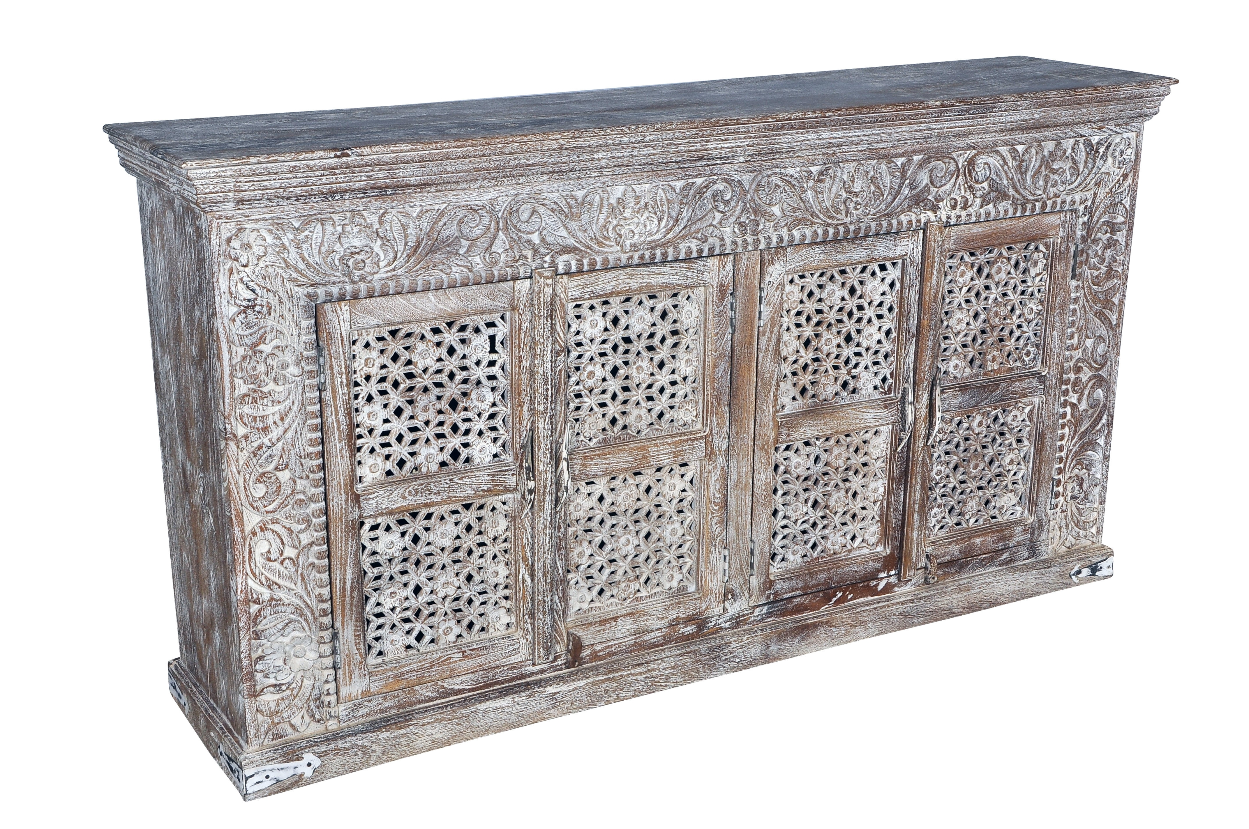 Bungalow Rose Aveliss Carved 4 Door Sideboard | Wayfair With Most Recently Released 4 Door 4 Drawer Metal Inserts Sideboards (#5 of 20)