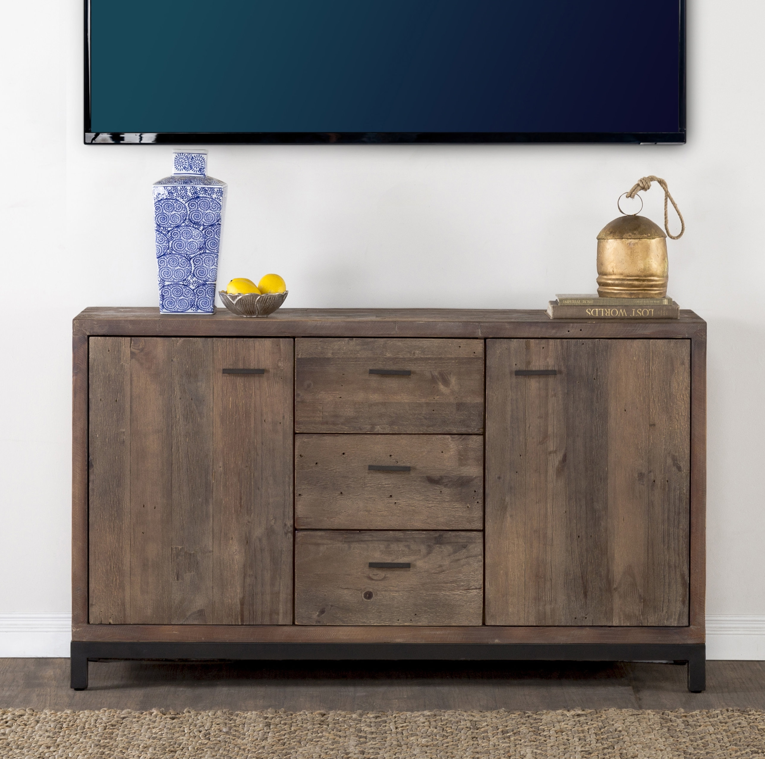 Bungalow Rose Gael Reclaimed Pine 3 Drawer 2 Door Sideboard | Wayfair (View 12 of 20)