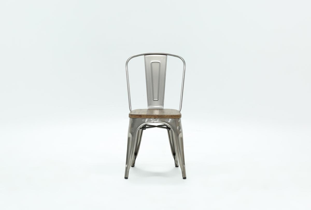 Popular Photo of Burton Metal Side Chairs With Wooden Seat
