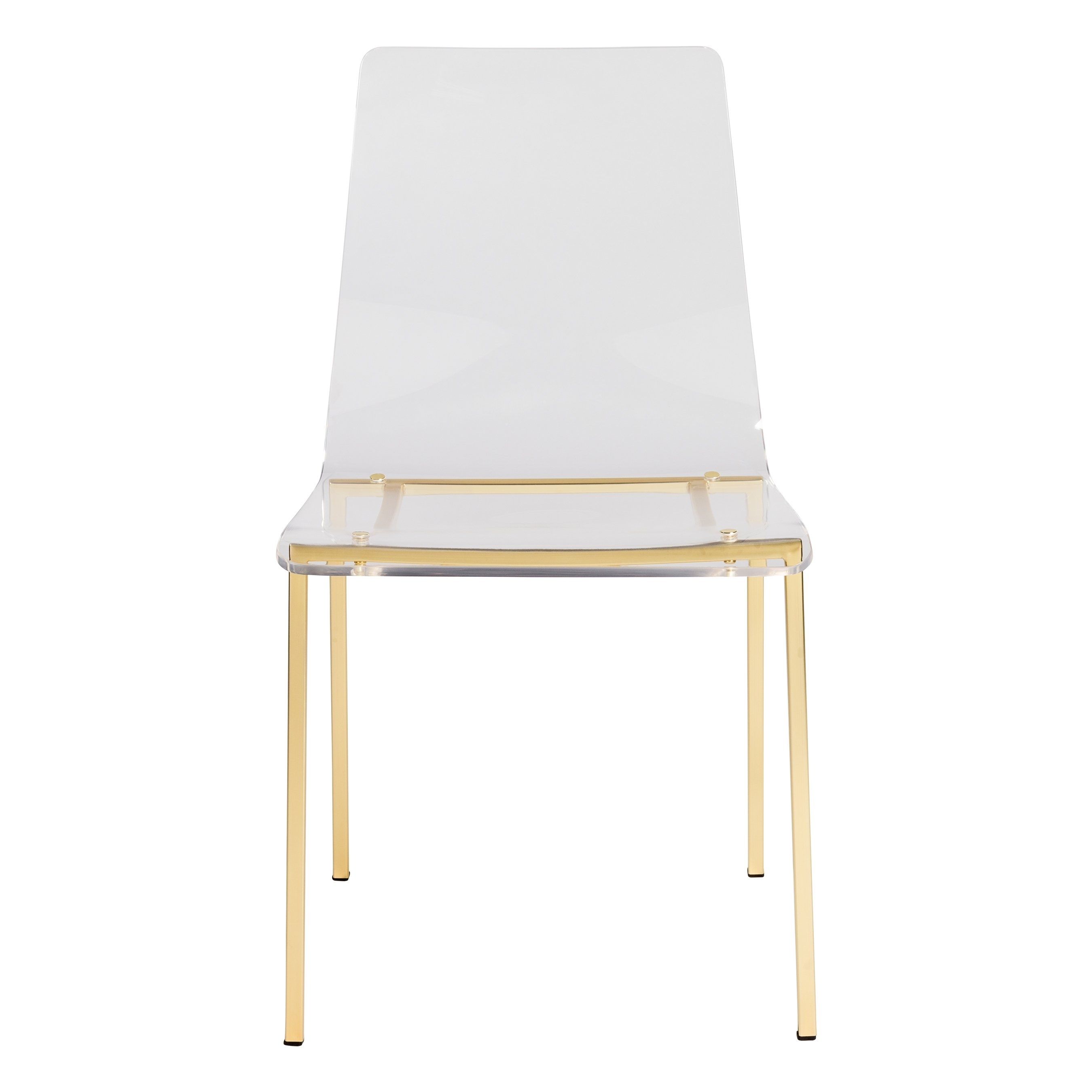 Burton Metal Side Chairs With Wooden Seat Regarding Newest Shop Chloe Side Chair In Clear Acrylic With Matte Brushed Gold Legs (#4 of 20)