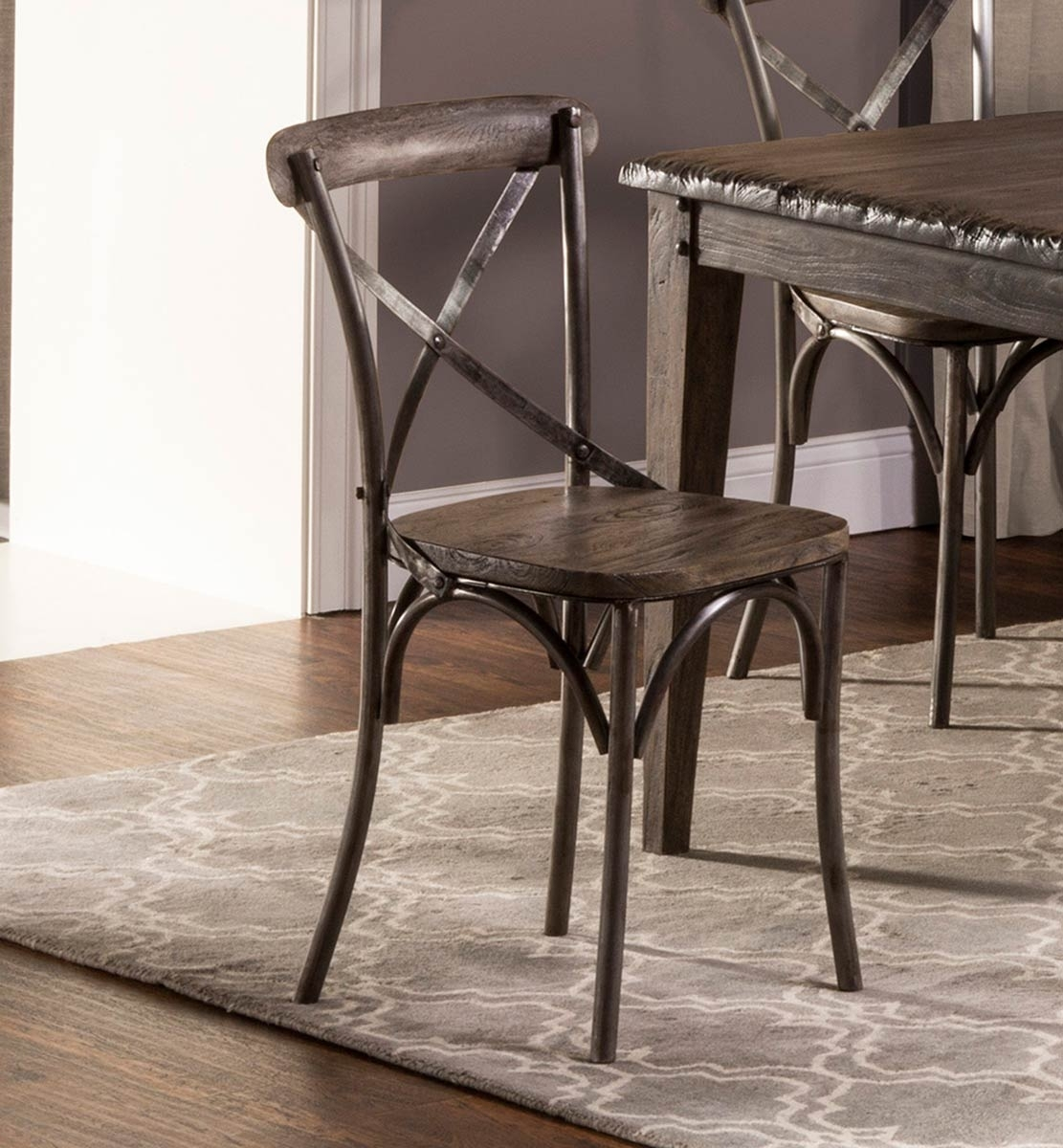 Burton Metal Side Chairs With Wooden Seat With Most Recent Hillsdale Lorient X Back Dining Chair – Washed Charcoal Gray/aged (#6 of 20)