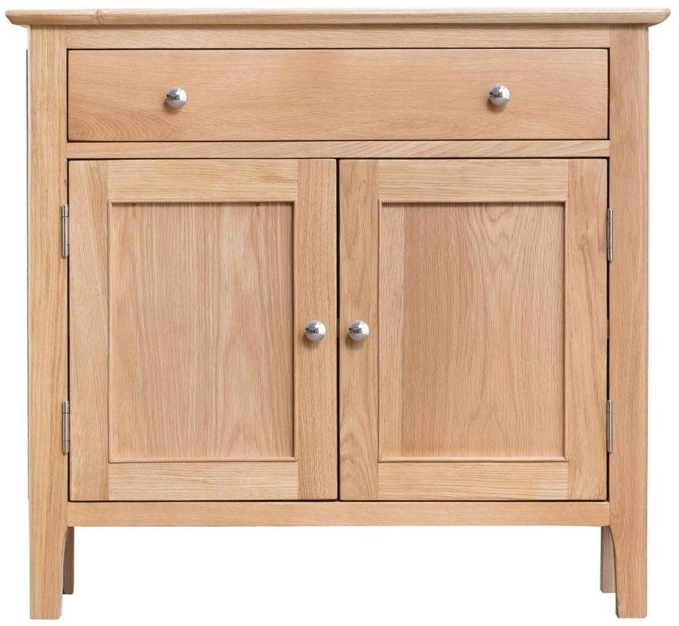 Buy Arne Natural Oak 2 Door Narrow Sideboard Online – Cfs Uk With Most Recent Natural Oak Wood 2 Door Sideboards (View 6 of 20)