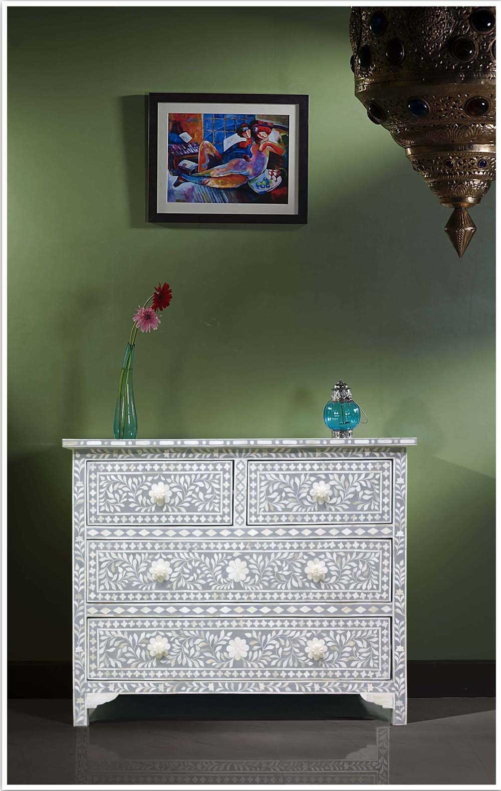 Buy Online Light Grey Bone Inlay Chest Of Drawer   Bone Inlay Dresser With Newest Geo Pattern Black And White Bone Inlay Sideboards (#10 of 20)