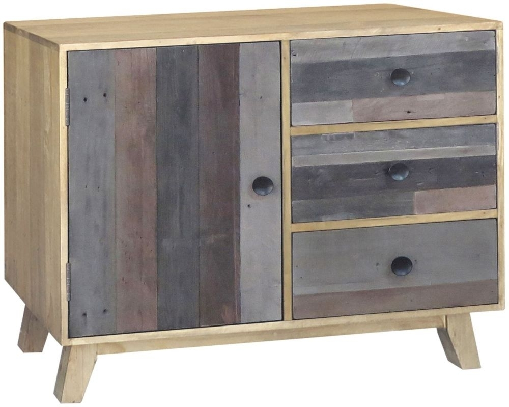 Buy Sorrento Reclaimed Pine 1 Door 3 Drawer Narrow Sideboard Online For Latest Reclaimed Pine 4 Door Sideboards (#7 of 20)