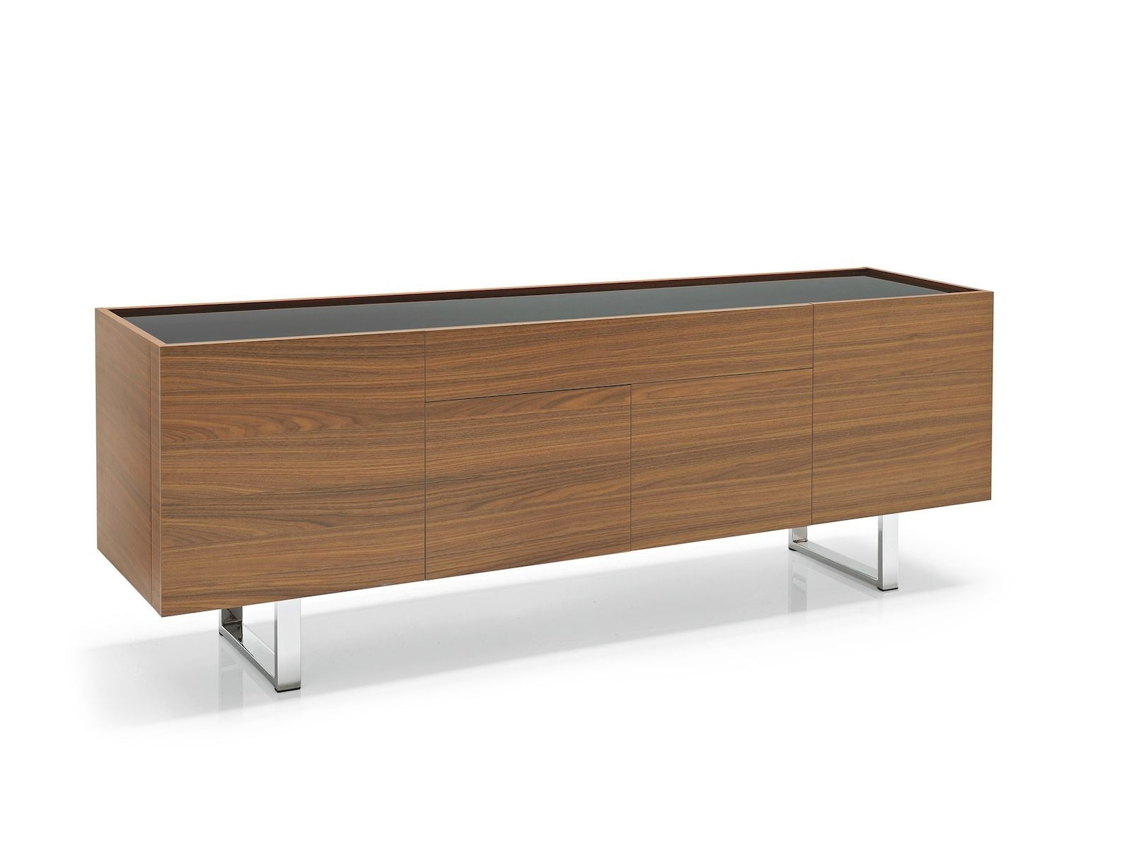 Calligaris Horizon 4 Door With Central Drawer Sideboard – Frank Mc Gowan With Regard To Best And Newest Walnut Finish 4 Door Sideboards (View 6 of 20)
