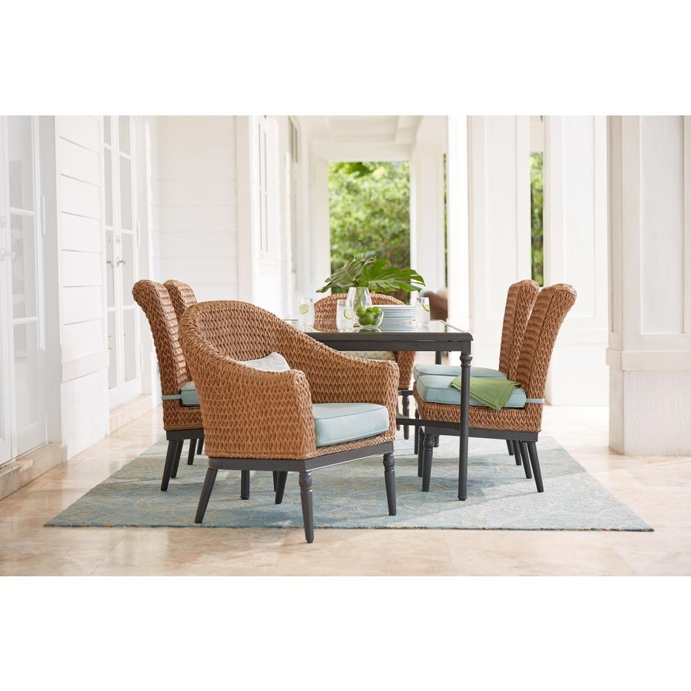 Camden Dining Chairs Inside Favorite Home Decorators Collection Camden Light Brown 7 Piece Wicker Outdoor (#6 of 20)