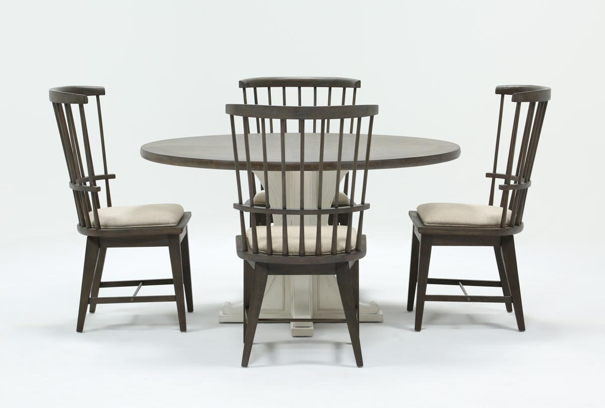 Candice Ii Upholstered Side Chairs With Most Up To Date Candice Ii 5 Piece Round Dining Set With Slat Back Side Chairs (#7 of 20)