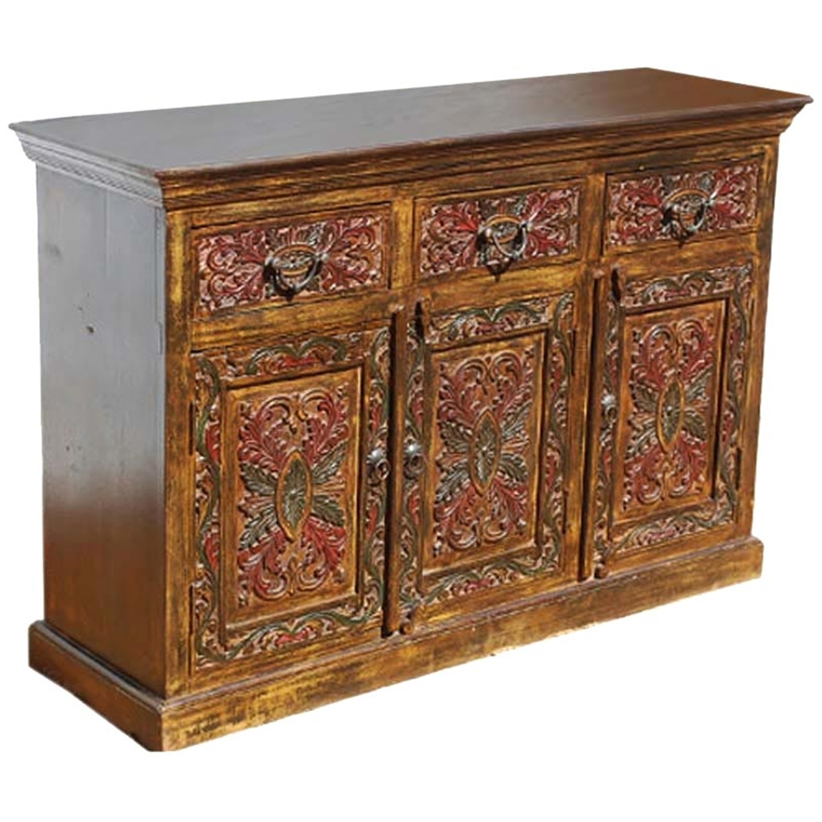 Canterbury Handcarved Solid Wood 3 Drawer Sideboard Within Recent Starburst 3 Door Sideboards (#2 of 20)