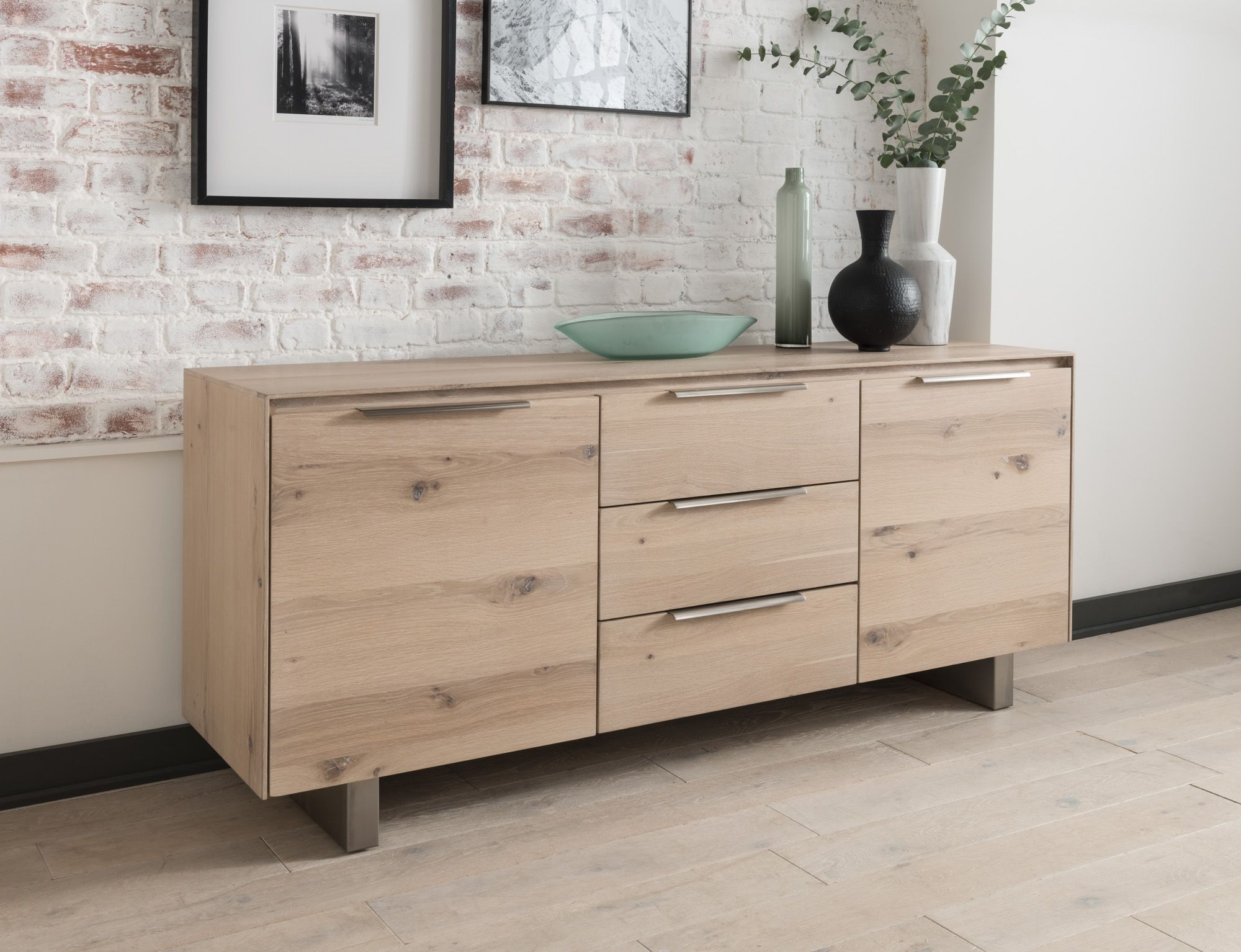 Capua White Washed Oak Sideboard 18vd175 For Recent 3 Drawer/2 Door White Wash Sideboards (View 9 of 20)