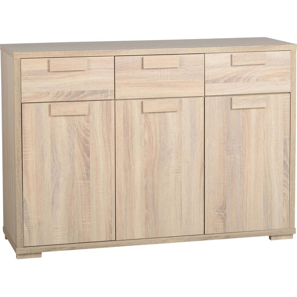 Caxton 3 Door 3 Drawer Sideboard Oak Effect | Wilko For Most Current White Wash 3 Door 3 Drawer Sideboards (View 17 of 20)