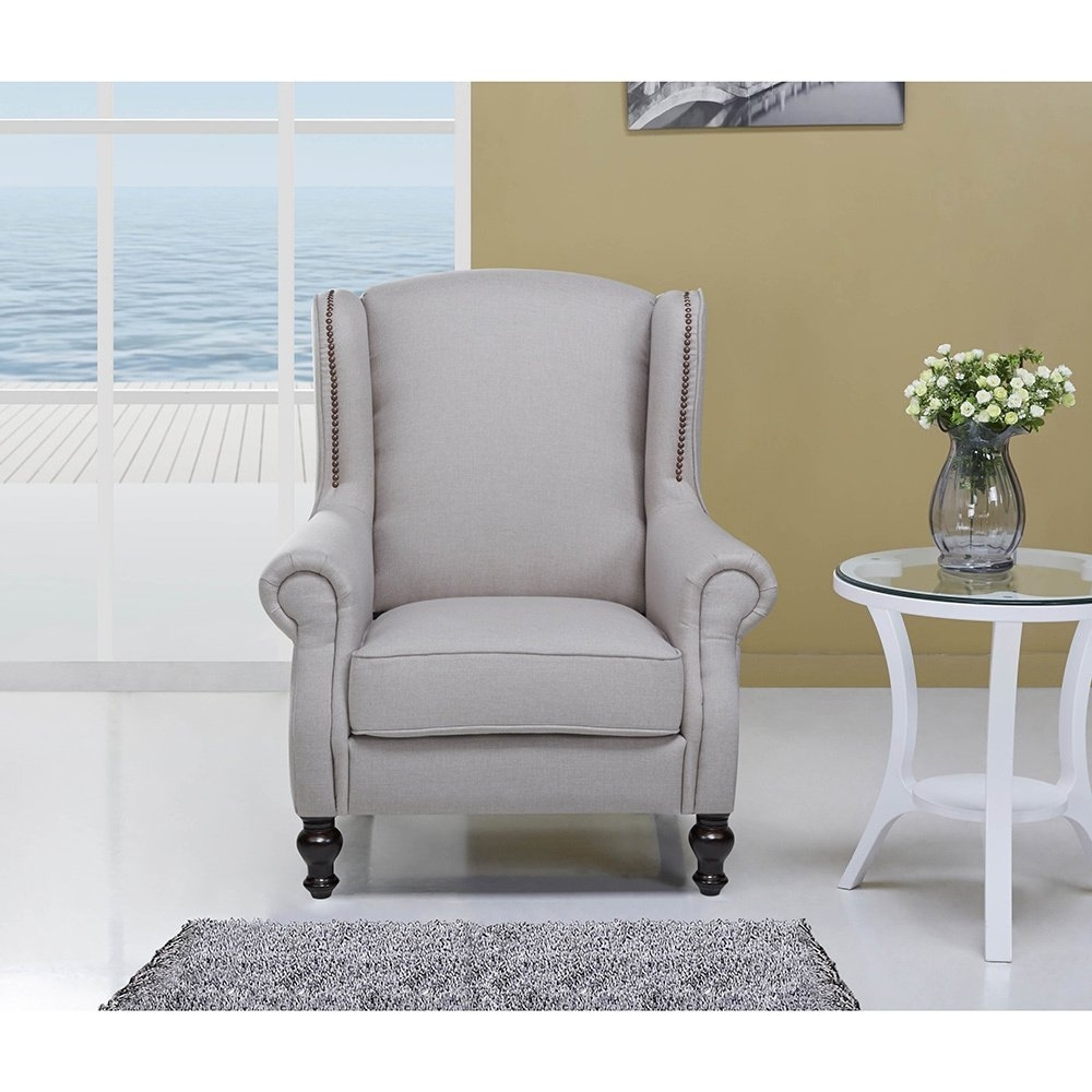 Chandler Fabric Side Chairs Inside Well Known Shop Chandler Beige Arm Chair – Free Shipping Today – Overstock (#6 of 20)