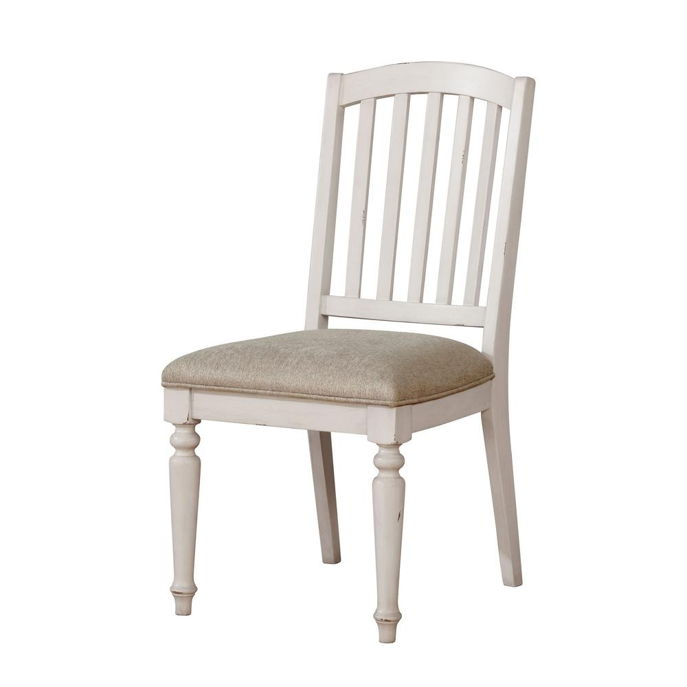 Chandler Wood Side Chairs For Recent Furniture Of America Chandler Antique White Fabric Slat Side Chair (#8 of 20)