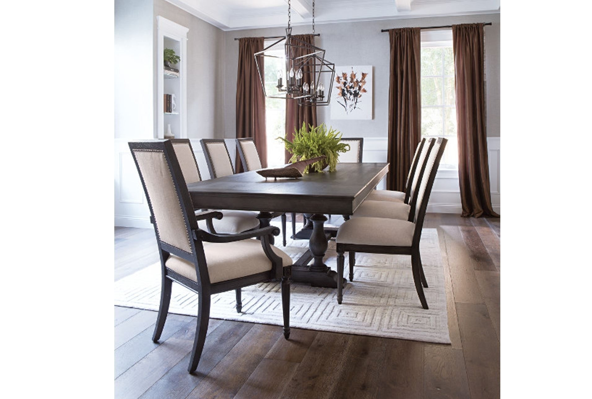 Chapleau Ii Arm Chairs For Famous Chapleau 9 Piece Extension Dining Set, Off White (View 8 of 20)