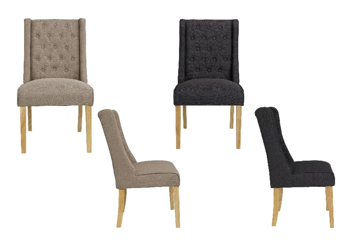 Charcoal Dining Chairs Pertaining To Newest Verona Linen Style Fabric Wing Back Dining Chairs X 2 – Beige Or (View 6 of 20)