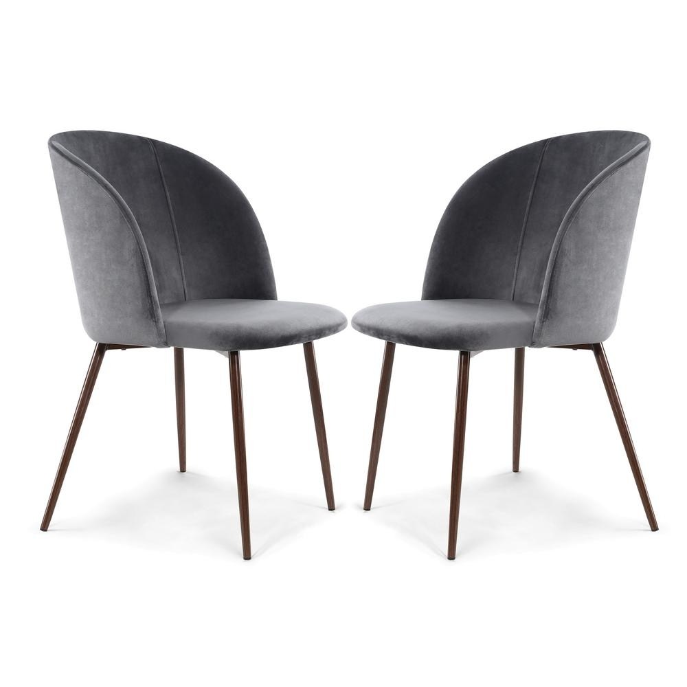 Charcoal Dining Chairs With Regard To Popular Poly And Bark Kantwell Cool Charcoal Velvet Dining Chair (Set Of  (#8 of 20)