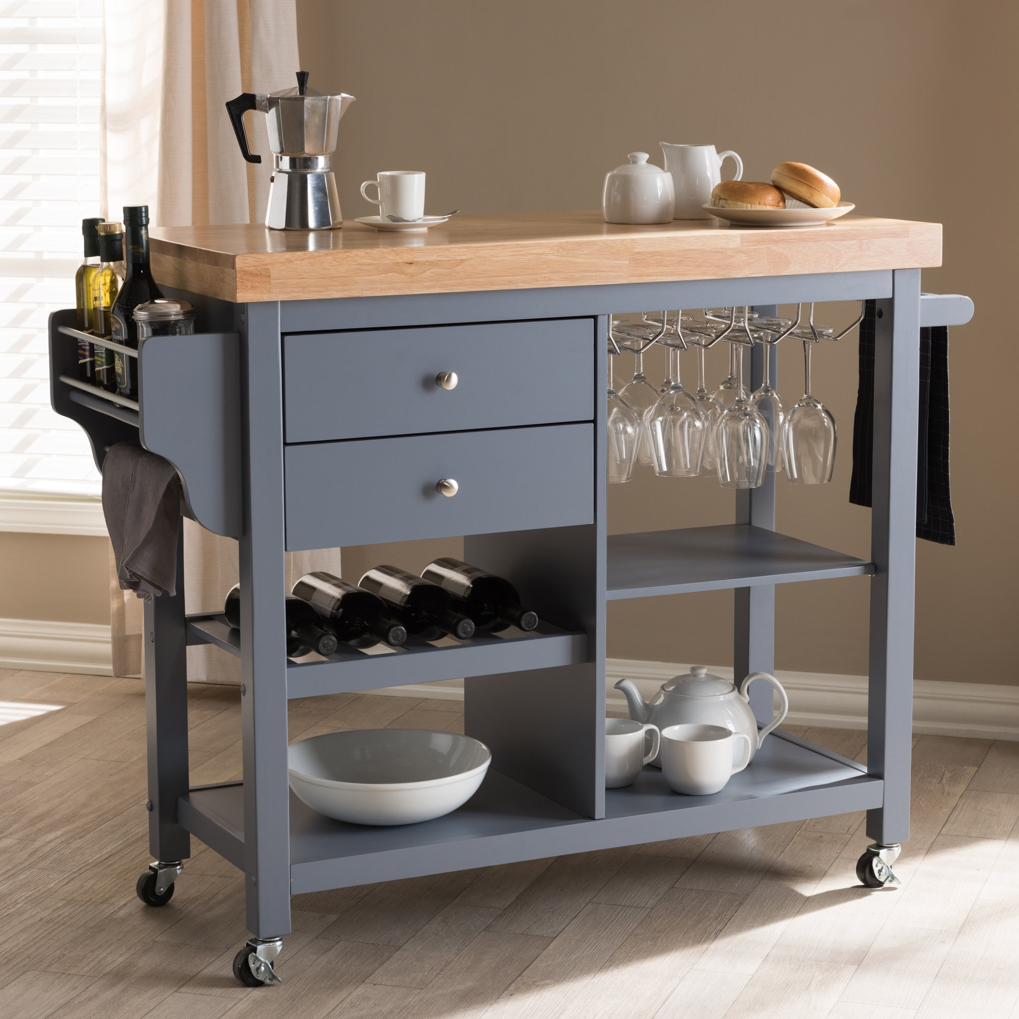 Charlton Home Hoglund Kitchen Cart With Wood Top | Wayfair With Regard To 2018 Helms Sideboards (View 12 of 20)